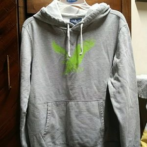 American eagle grey hoodie with nwon yellow eagle